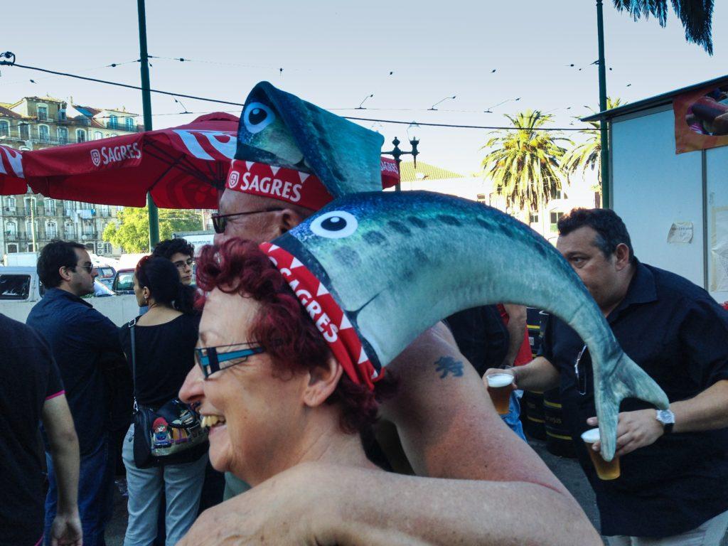 Lisbon Sardine Festival: Partiers wearing sagres beer hats