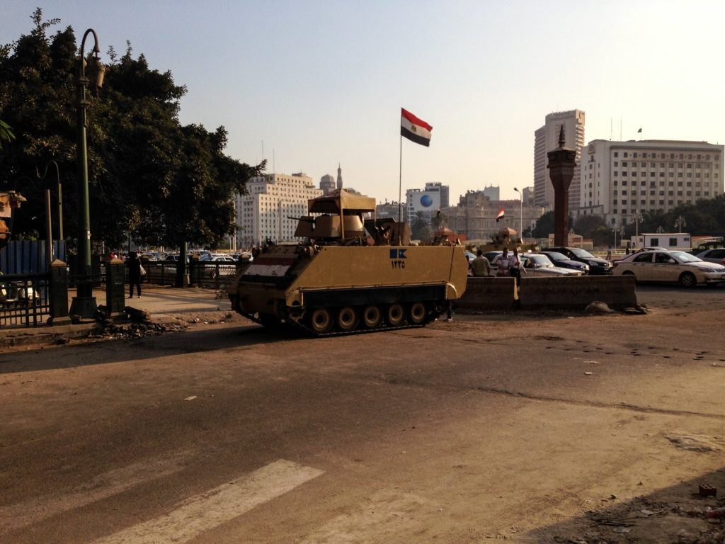 In Cairo after my visit to the egyptian pyramids. A tank outside my hotel. Why would anyone think this place is unsafe?