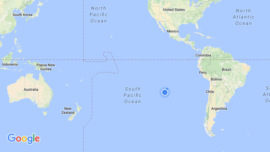 World map with Easter Island highlighted