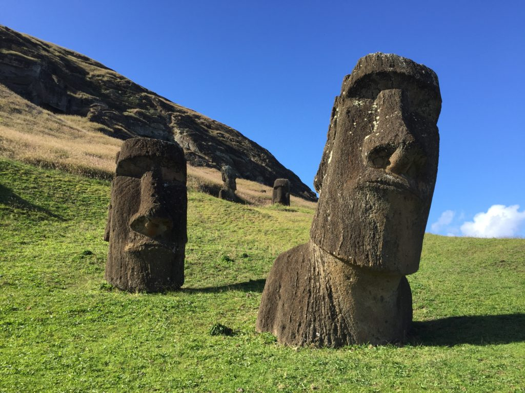 Moai heads on easter island