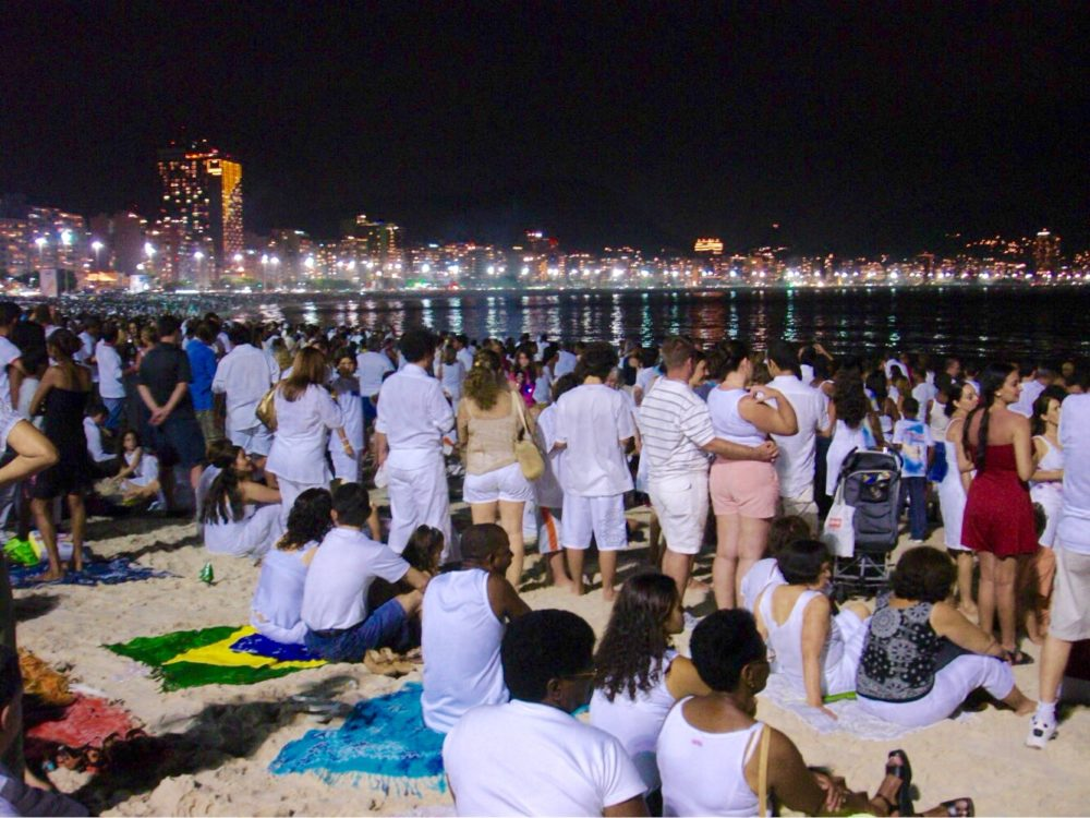 Brazilian New Year's Eve - spectators on Copacabana beach