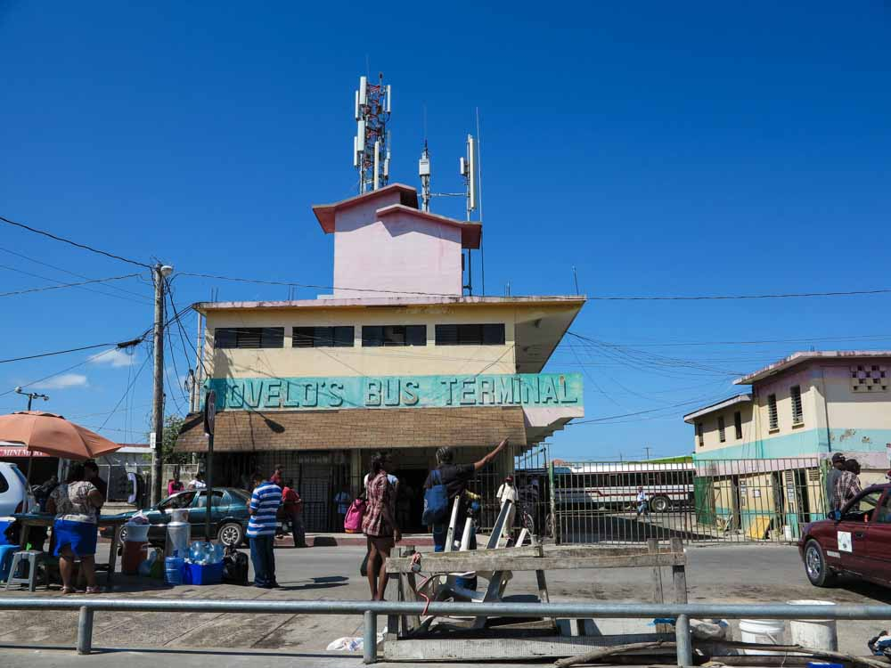 The Belize City Bus Terminal in the town center