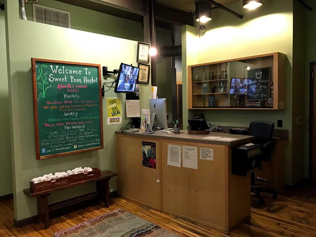 Sweet Peas Hostel Asheville - front desk