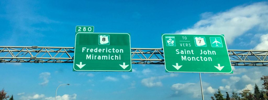 Highway sign for Fredericton New brunswick