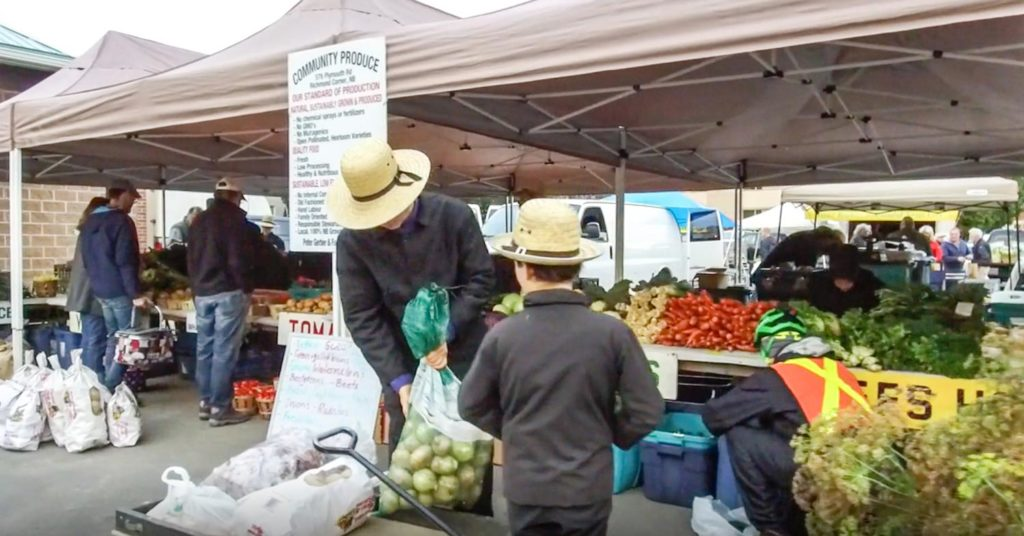 Mennonites selling vegetables and more at the Boyce Farmers Marker