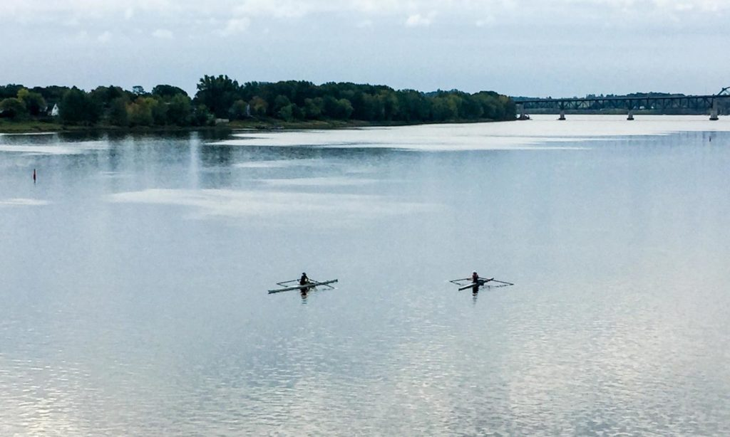 Rowing on the Saint John River in Fredericton