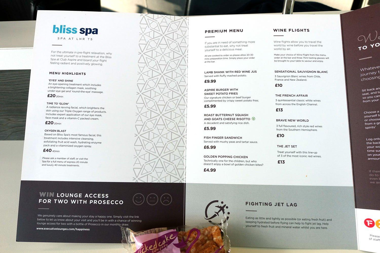 heathrow priority pass lounge - aspire lounge and spa menu