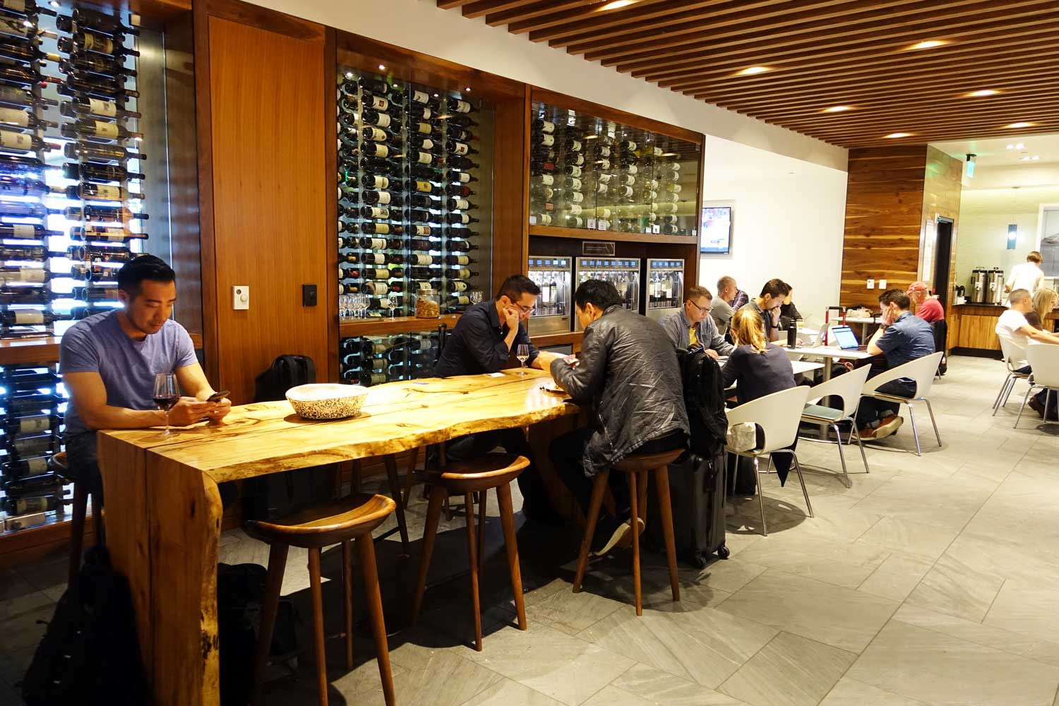 airport lounges wine wall