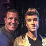 Michael with a wax Justin Bieber