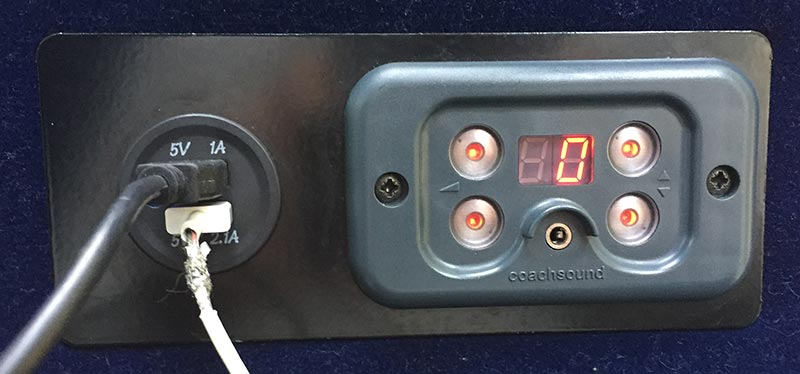 two USB ports on the Real Journeys bus from Queenstown to Milford Sound