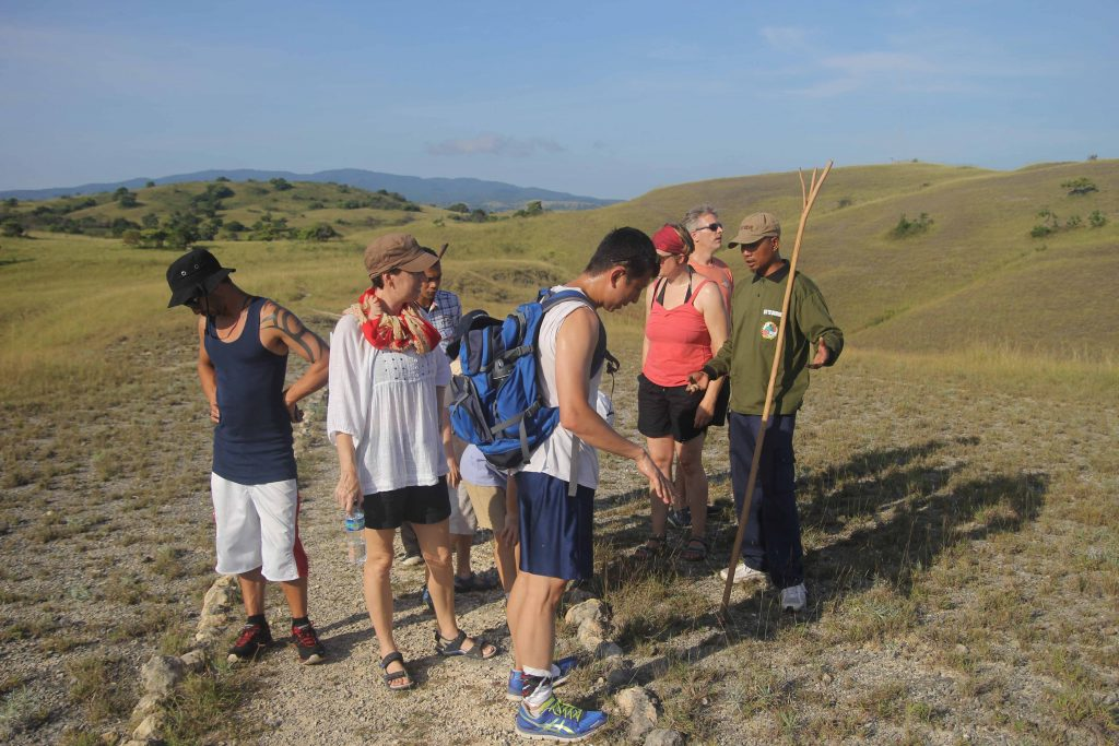 Hiking on Rinca island with a guide who carries a large stick to ward off komodo dragons